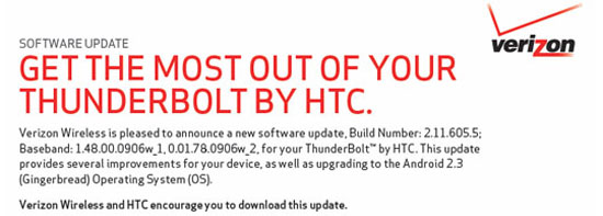 HTC Thunderbolt Gingerbread Update Finally