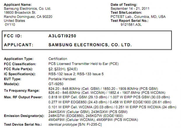 Samsung Nexus Prime GT-i9250 Gets Through the FCC