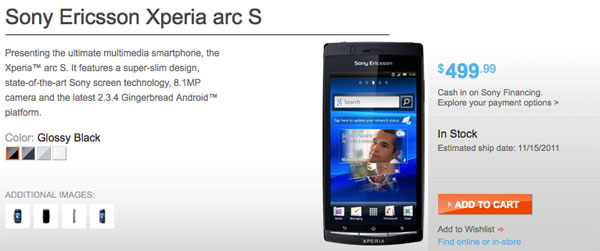 Sony Xperia arc S Android Phone