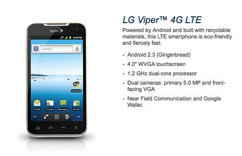 Sprint Announces the LG Viper 4G LTE with NFC