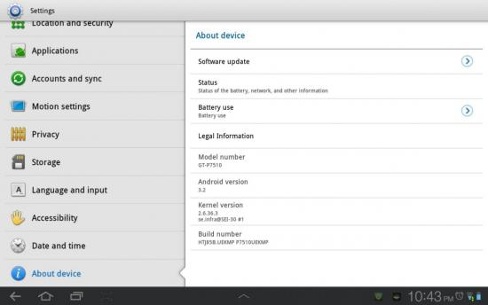 Galaxy Tab 10.1 Update Build HTJ85B.UEKMP P7510UEKMP