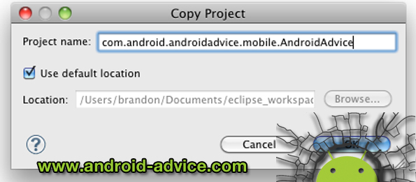 copy eclipse android project and create new icons